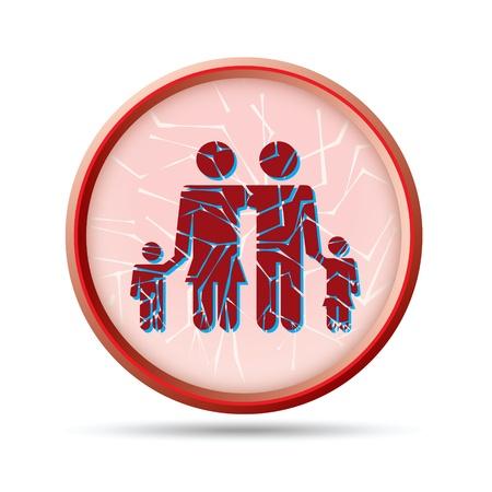 Illustration of broken family concept as icon Illustration