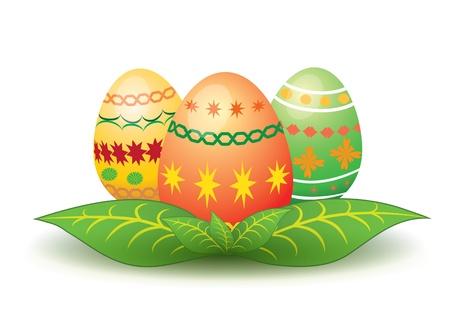 Illustration of three ornamented Easter eggs on leaves