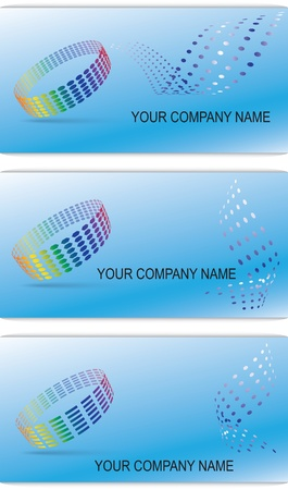 Illustration of three different business cards