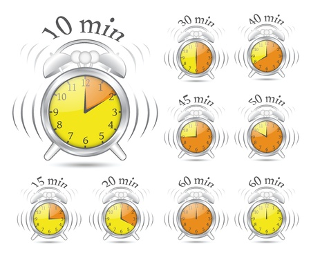 ticking: Illustration of timer clock in different positions
