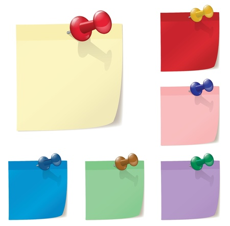 Illustration of colored post papers with pinns Vector