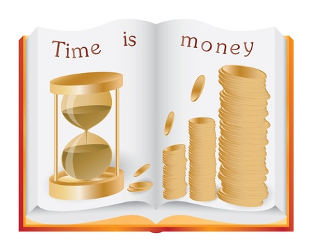 Opened book illustrating time is money concept
