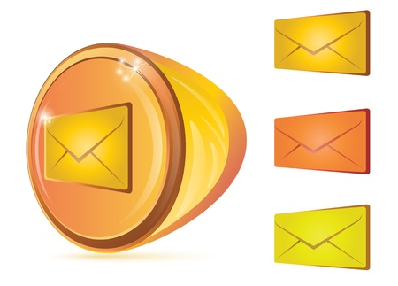 Illustration of envelopes in perspective view and abstract button for email