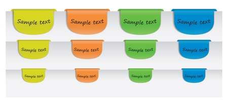 Illustration of colored labels with sample text message