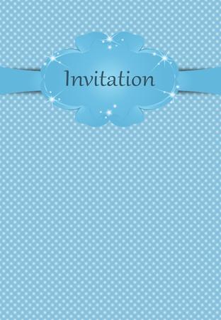 Illustration of invitationfor boys on blue background