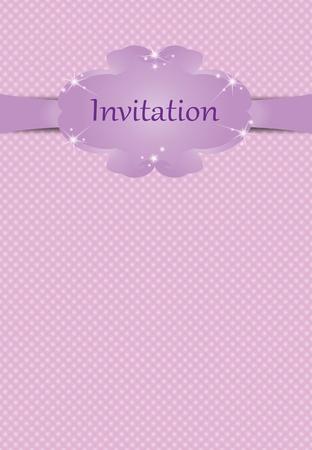 Illustration of invitation for girls on pink background
