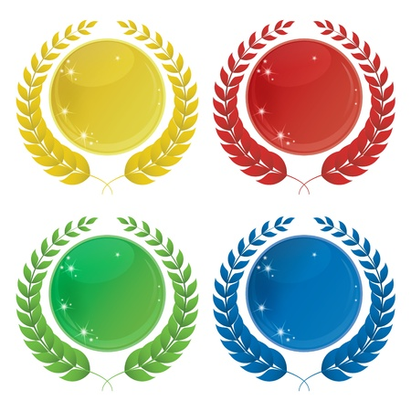 Illustration of four laurel icons in different colours Stock Vector - 13229842