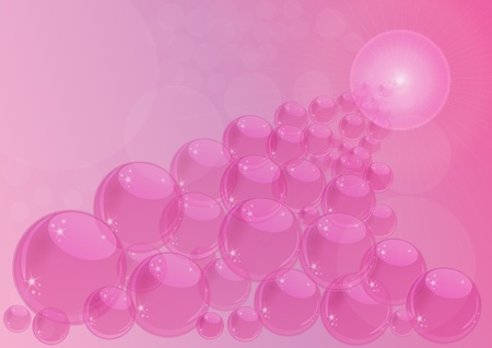 Illustration of different pink bubbles with lens flare effect