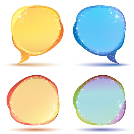 Illustration of colored speech bubbles with sparkles