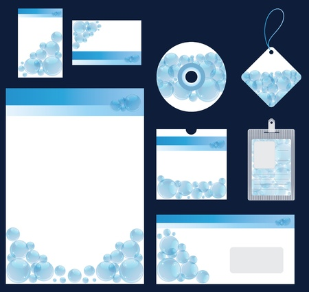 Illustration of blue water bubble stationery set