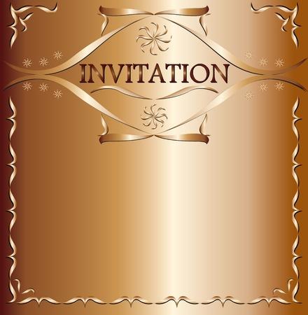 Illustration of elegant invitation on brown background