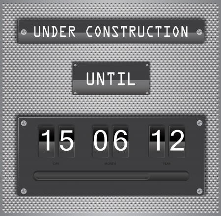 countdown timer: Illustration of under construction concept for websites, with countdown timer on metallic background