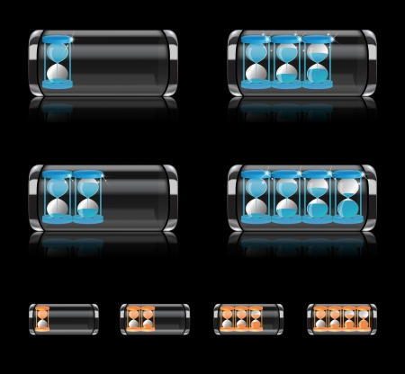 Illustration of glossy battery icon with hourglass as symbol of time running