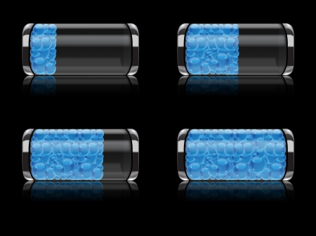 Illustration of glossy battery icon with blue bubbles as symbol of time running Illustration