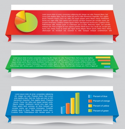 Illustration of design element with infographic panel for website