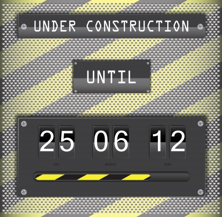 Illustration of under construction concept for websites, with countdown timer on metallic background