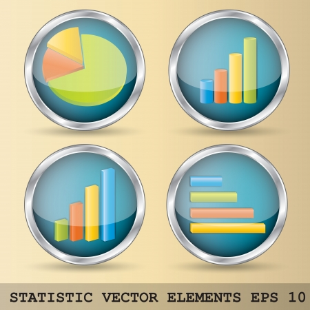 Illustration of statistic elements in four variations Vector