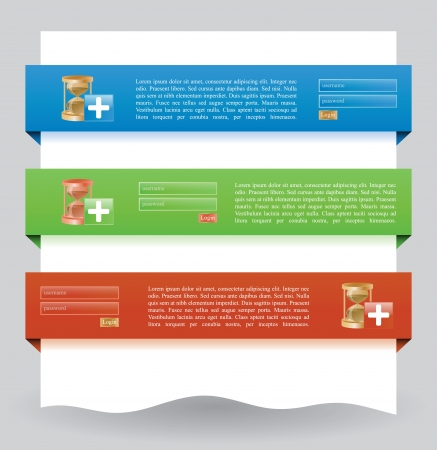 operation for: Illustration of different colored web banners for login operation Illustration