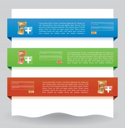 pesta�as: Ilustraci�n de diferentes banderas de la tela de colores para la operaci�n de inicio de sesi�n
