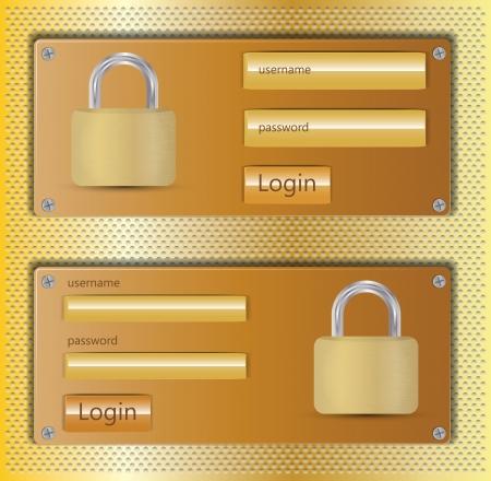 Illustration of login web design element on metallic orange background