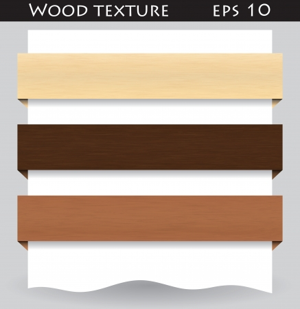 Illustration of different colored web banners with wood texture Illustration
