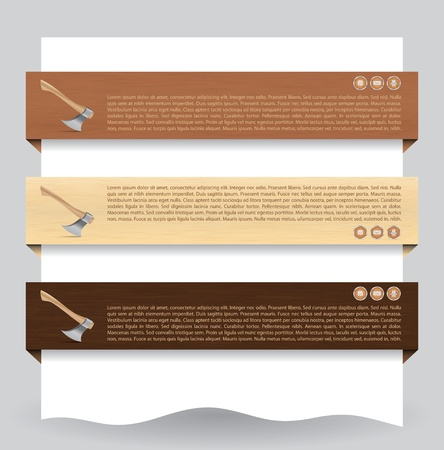 Illustration of different colored web banners with wood texture and ax