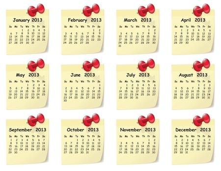 sticky notes: Illustratie van de maandelijkse kalender op sticky notes