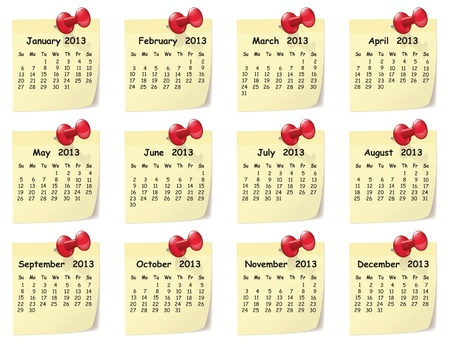 Illustration of monthly calendar on sticky notes Illustration