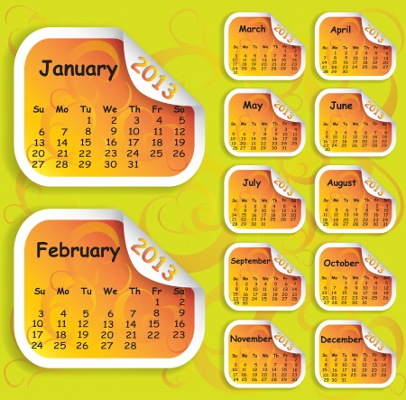 Illustration of calendar for 2013 on stickers for web usage