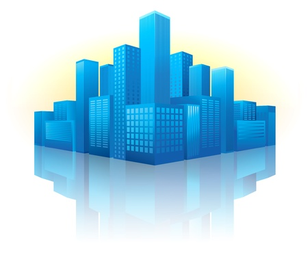 Illustration of blue buildings in perspective view with reflection