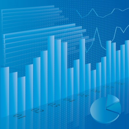 economic forecast: Illustration of business financial stats on blue background