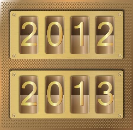 Illustration of gold website element with number 2012 2013