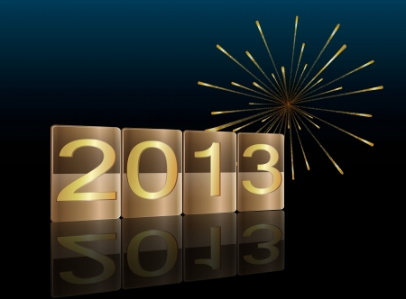 Illustration of golden blocks with 2013 year and fireworks in the background