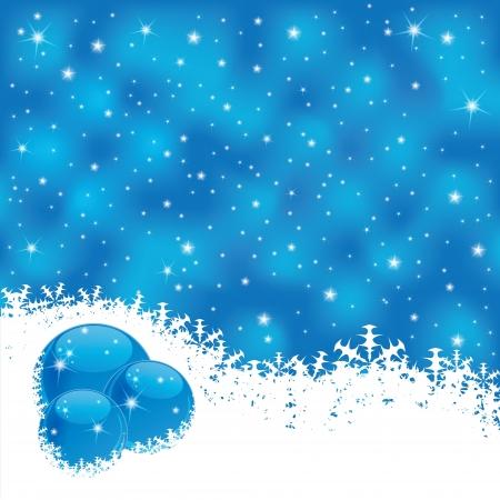 Illustration of winter scene on blue magic background