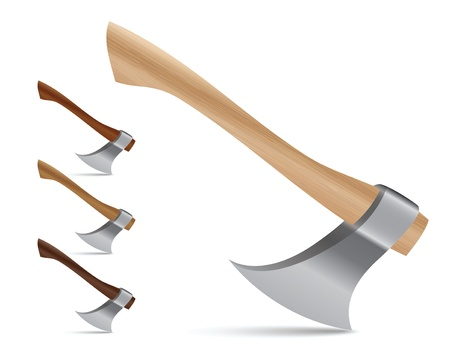 Realistic vector illustration set of four different colored wood axes