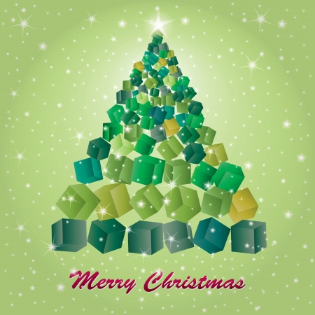 Illustration of Christmas Tree On green background from gift boxes Illustration