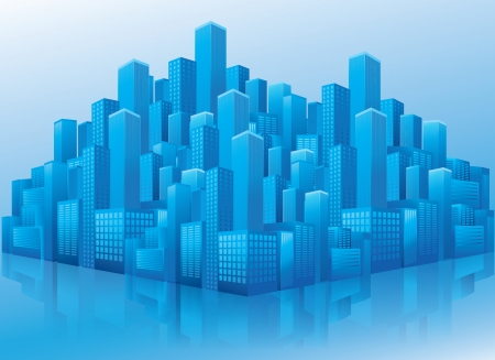 Illustration of business office buildings in perspective view on blue background Illustration