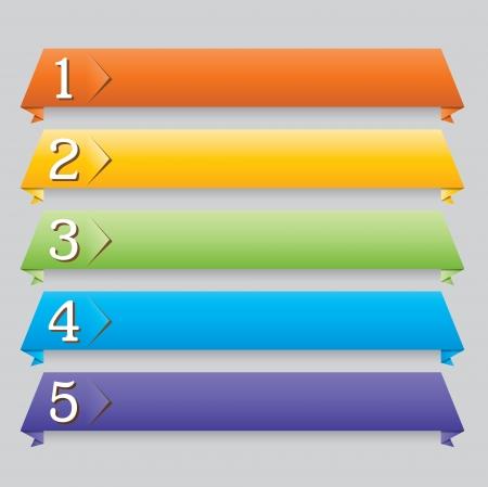 Illustration of different colored origami web banners for your website