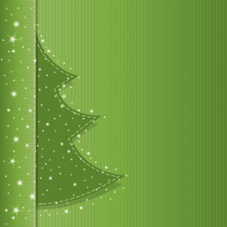Illustration of a classic christmas tree on a green brochure