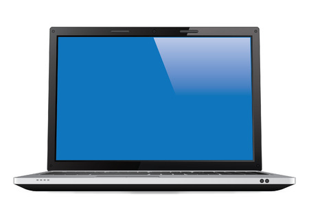 Laptop with Blank Screen - Vector Illustration