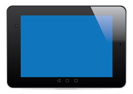 single color image: Lollipop Tablet with Blank Screen - Vector Illustration