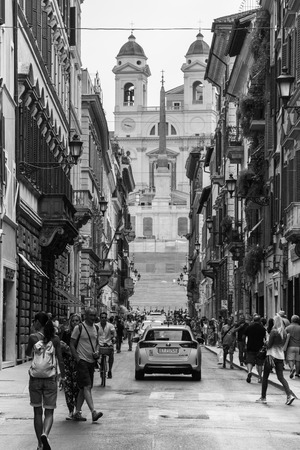 spanish steps: Street leading to the Spanish Steps in Rome