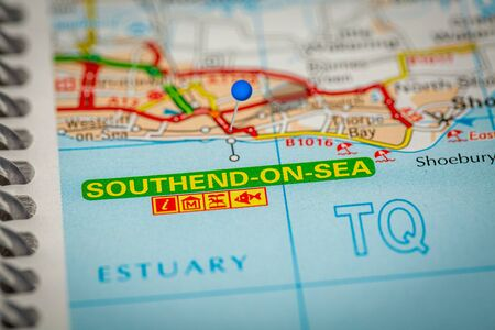 Blue Map Pin on Paper Map Showing Southend on Sea