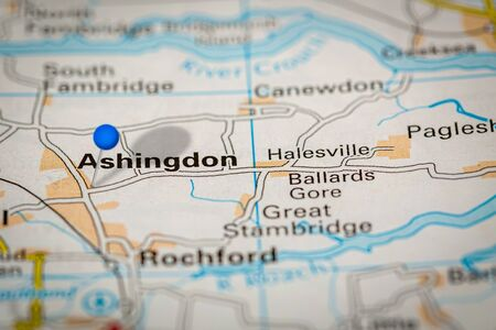 Blue Map Pin on Paper Map Showing Ashingdon