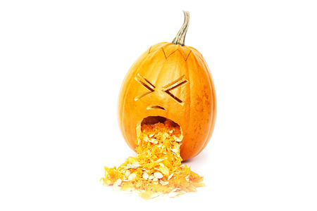 Halloween pumpkin, throwing up isolated over  white background Stock Photo