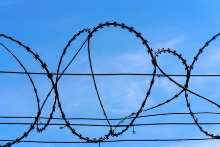 Barbed wire closeup , blue sky on the back