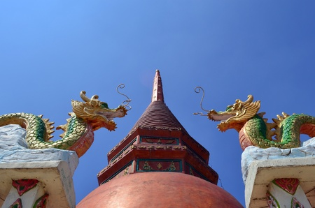 Red pagoda & two dragons Stock Photo - 13278726