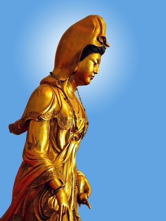 Kuan Yin blue background photo