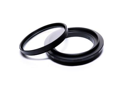 tele up: Macro reverse ring for DSLR SLR camera Stock Photo