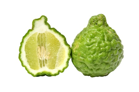 Kaffir Lime fruits isolated on white photo